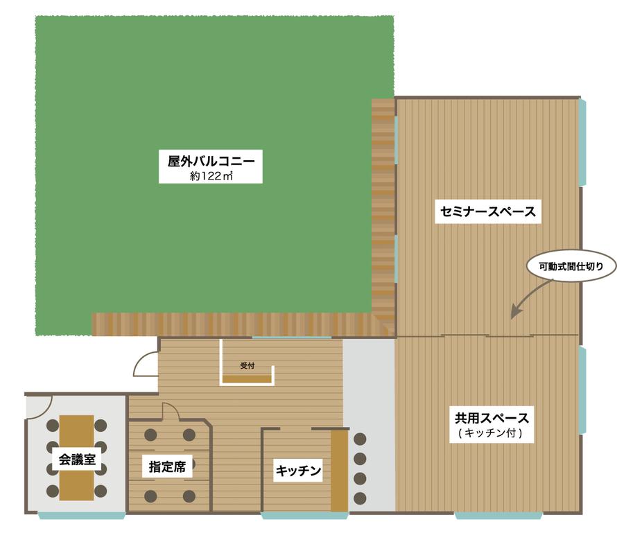 フロアマップ:屋外バルコニー122㎡,セミナースペース,可動式間仕切り,共用スペースキッチン付き,キッチン,指定席,会議室