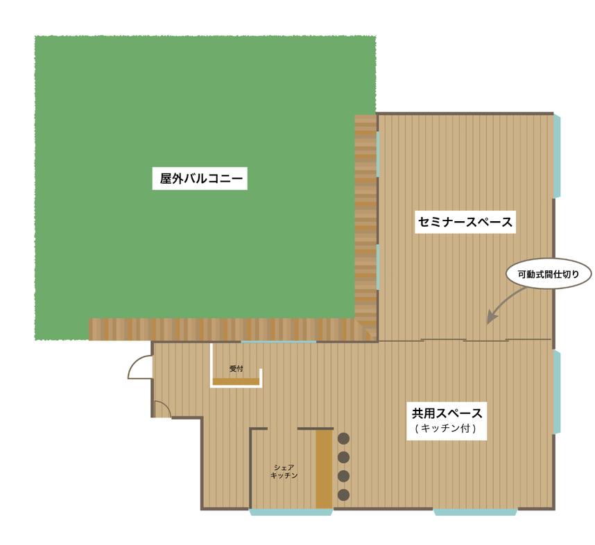 レンタルスペース平面図:屋外バルコニー、セミナースペース、共用スペース、キッチン
